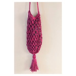 Handbags - Handmade pink crossbody crochet purse with tassel